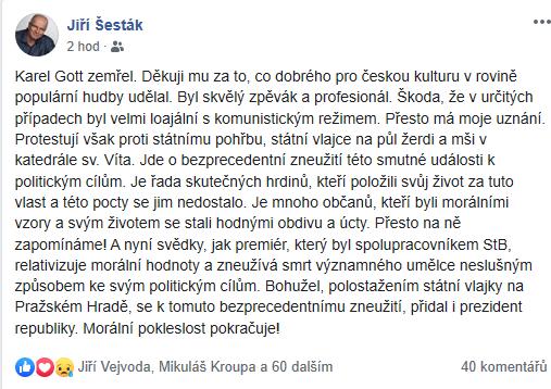 Jiří Šesták komentující smrt Gotta