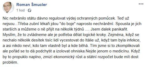 Roman Šmucler promlouvá