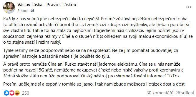 Václav Láska varuje