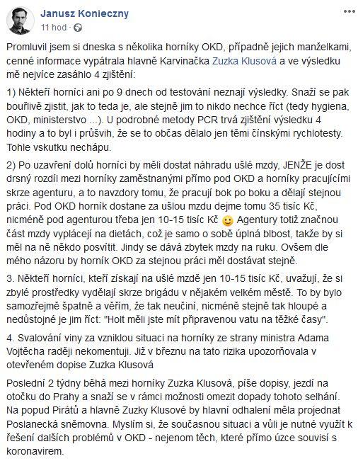 Analytik Pirátů Janusz Konieczny  o situaci v Karviné