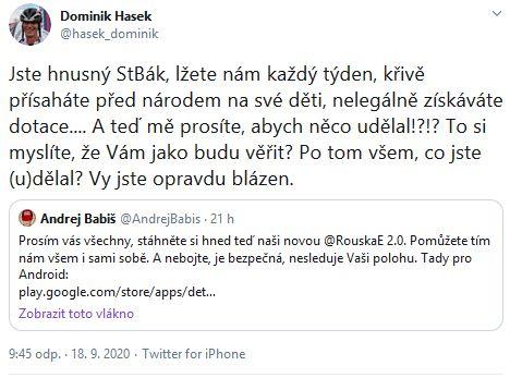 Dominik Hašek udeřil na Babiše