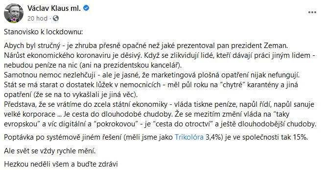 Václav Klaus mladší se pustil do vlády i do Pirátů