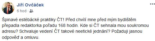 Jiří Ovčáček se zlobí