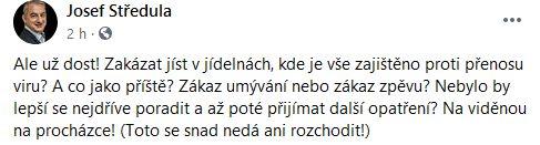 Josef Středula zuří