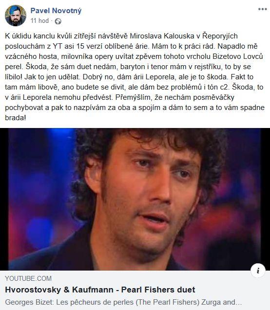 Pavel Novotný se chystal na příjezd Miroslava Kalouska
