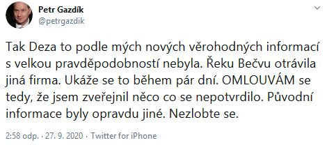 Petr Gazdík se omluvil