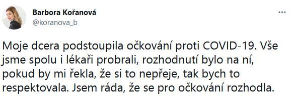 Barbora Kořanová promluvila.