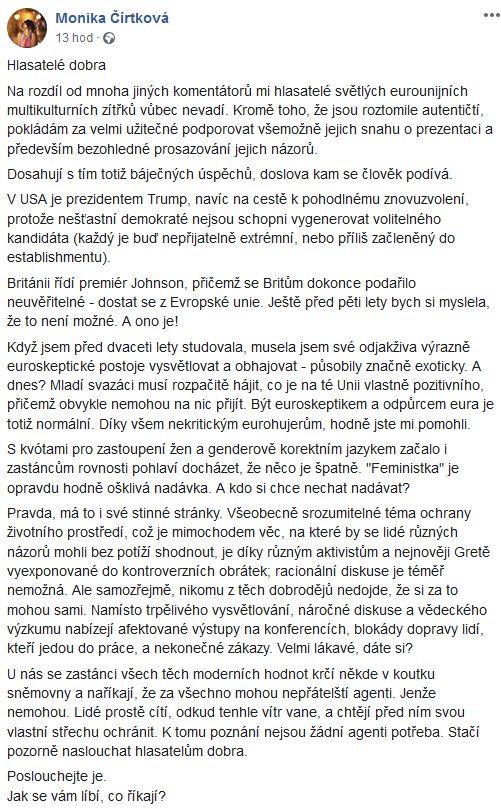 Advokátka Monika Čírtková promlouvá