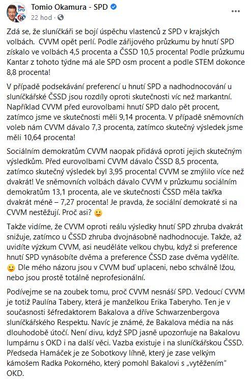 Tomio Okamura o průzkumech CVVM