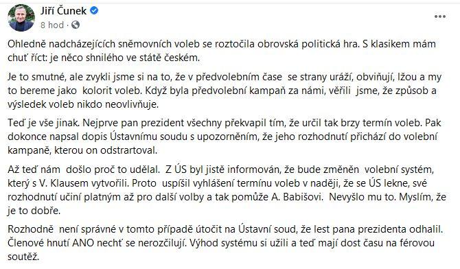 Jiří Čunek se zastal Ústavního soudu ČR.
