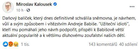 Reakce pánů Jiřího Drahoše a Miroslava Kalouska na schválení daňového balíčku.