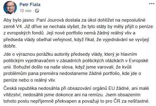 Petr Fiala se vyjadřuje k Věře Jourové