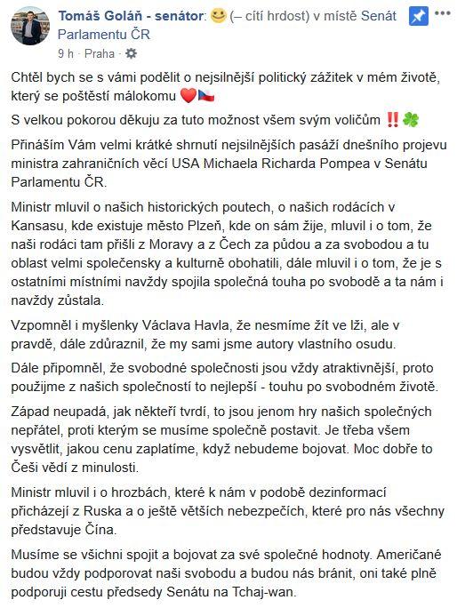 Tomáš Goláň promluvil o americké návštěvě v Senátu