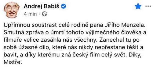 Zemřel režisér Jiří Menzel