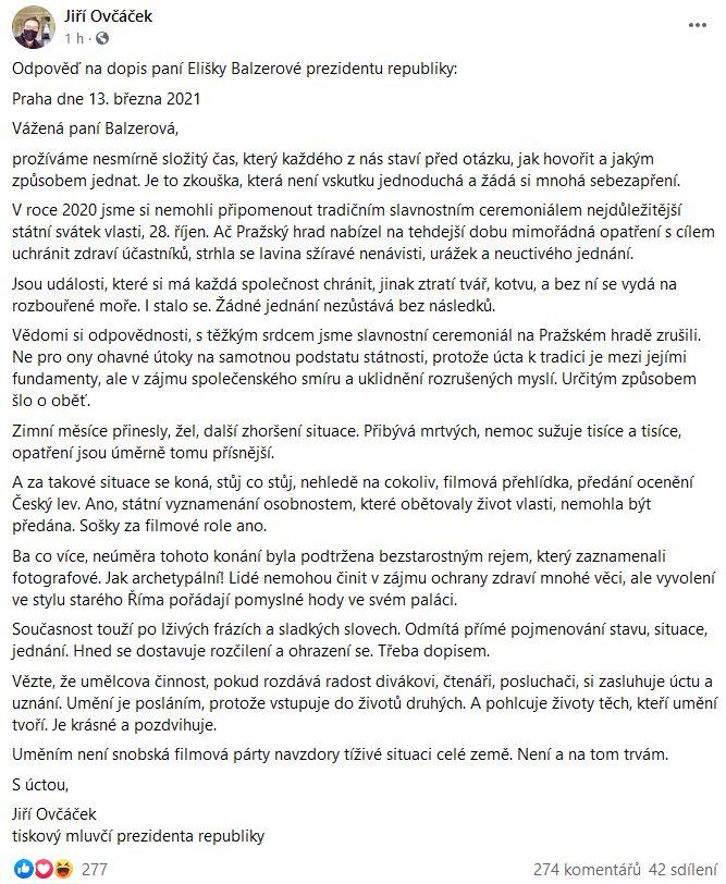 Jiří Ovčáček napsal dopis