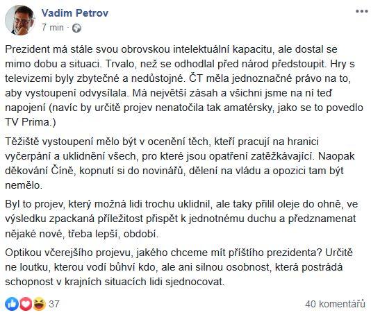 Vadim Petrov zhodnotil vystoupení prezidenta Miloše Zemana