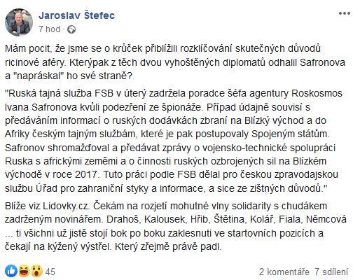 Jaroslav Štefec o kauze ricin