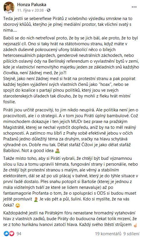 Honza Paluska promlouvá