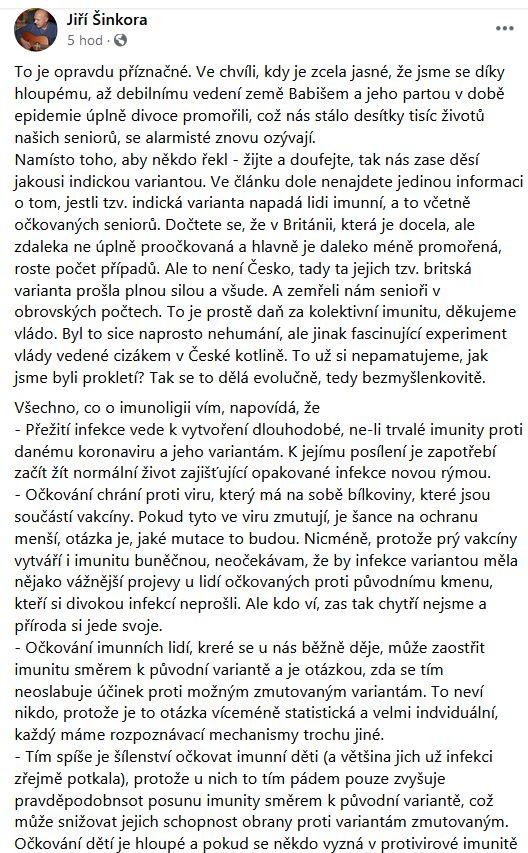 Imunolog Jiří Šinkora promlouvá