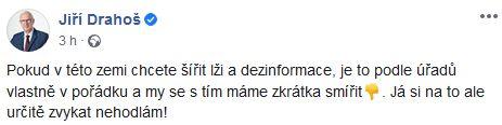 Jiří Drahoš se zlobí