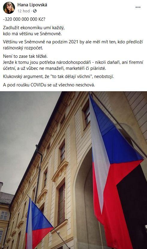 Hana Lipovská varuje před ekonomickými problémy