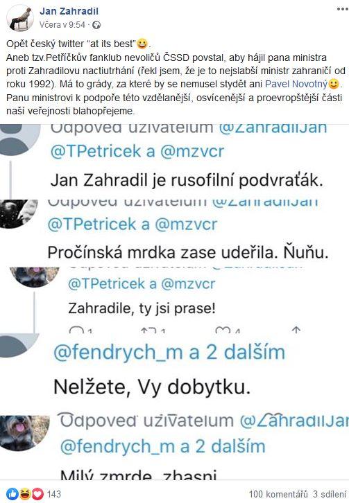 Jan Zahradil se s občany podělil o výrazy, jimiž  je častován