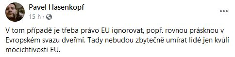 Pavel Hasenkopf se zlobí