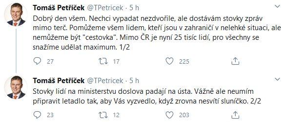Ministr zahraničí Tomáš Petříček promluvil k Čechům