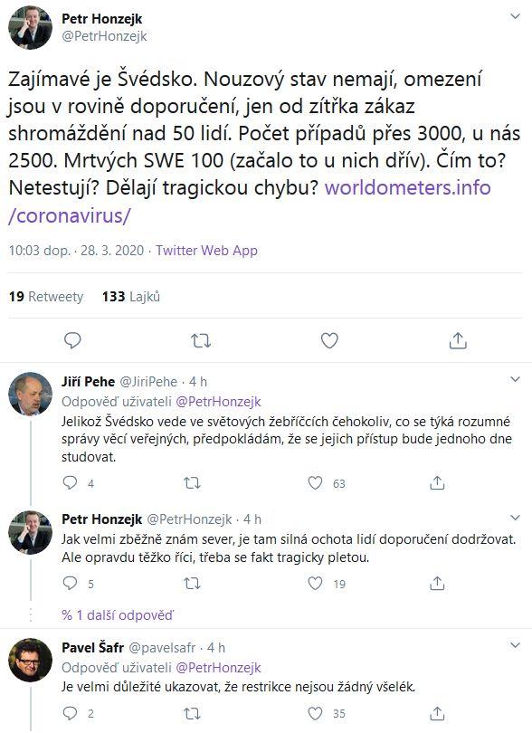 Petr Honzejk uvažuje, jak koronavirovou pandemii zvládá Švédsko