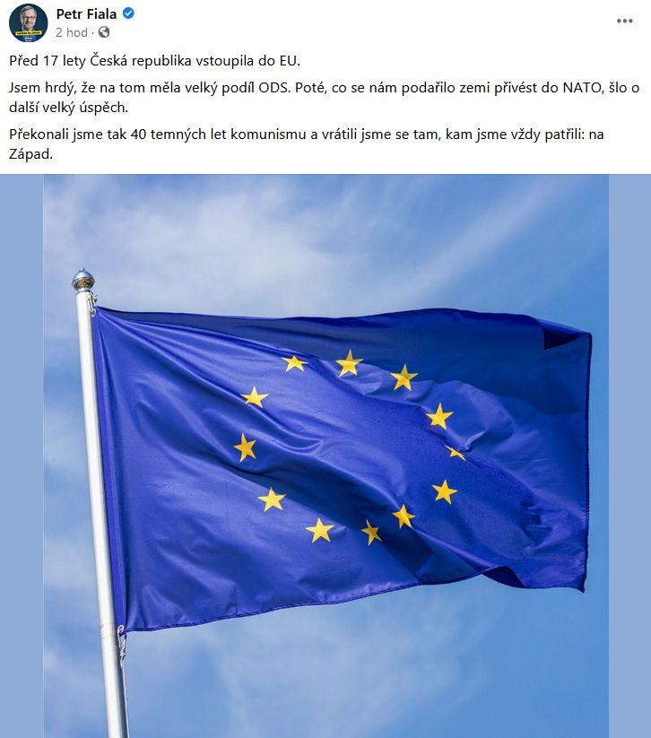 Petr Fiala promluvil k českému členství EU