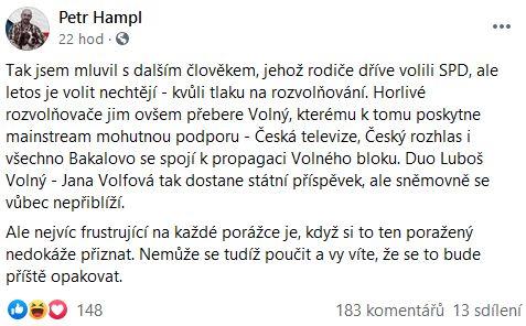 Petr Hampl promlouvá