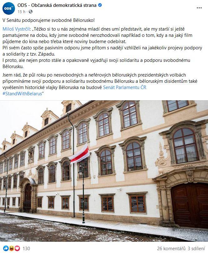 Předseda Senátu Miloš Vystrčil se postavil za svobodné Bělorusko