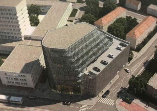 Vizualizace velkokapacitního parkovacího domu Budějovická