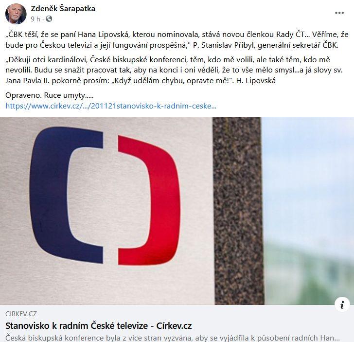 Zdeněk Šaraptka poukázal na slova Hany Lipovské