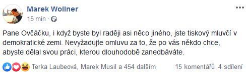 Reakce na slova Jiřího Ovčáčka
