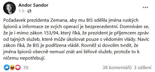 Andor Šándor zkritizoval prezidenta Zemana