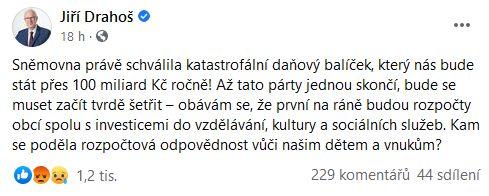 Reakce pánů Drahoše a Kalouska na schválení daňového balíčku ve Sněmovně