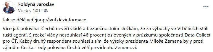Foldyna a průzkum ČT