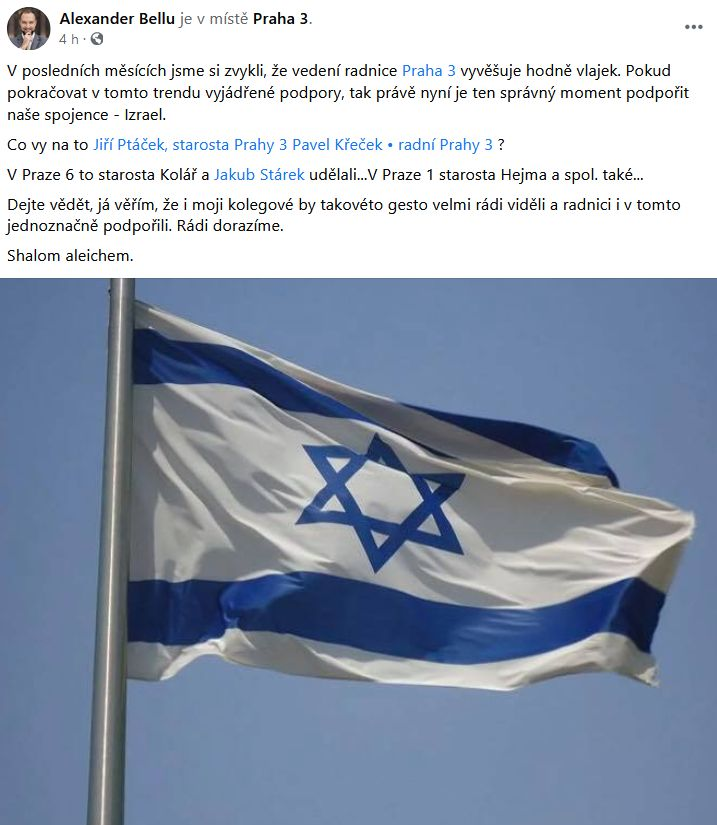 Podpoří Izrael i vedení Prahy?