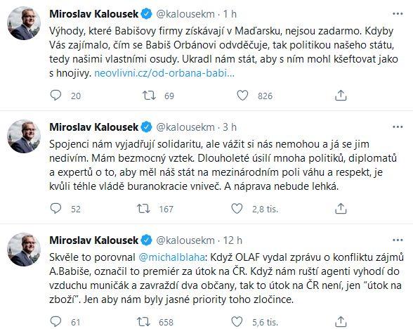 Miroslav Kalousek udeřil na Andreje Babiše
