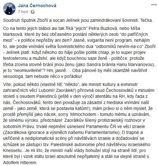 Jana Černochová se rozzlobila na Zdeňka Zbořila a Lubomíra Zaorálka