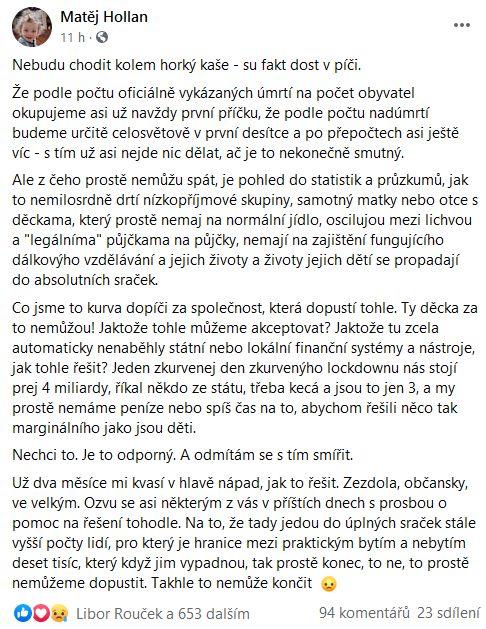 Matěj Hollan povolává občanskou společnost