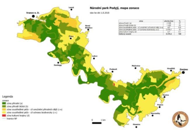 Národní park Podyjí - mapa zonace