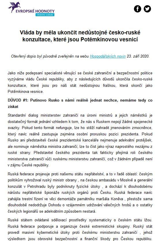 Otevřený dopis Evropských hodnot