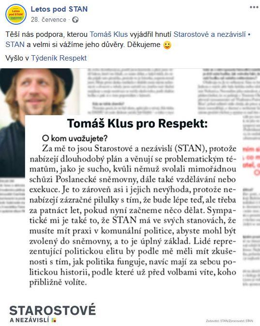 STAN děkuje Tomáši Klusovi.