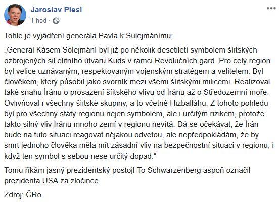 Jaroslav Plesl o Íránu a generálu Pavlovi