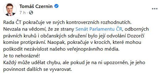 Senátor Czernin se zlobí