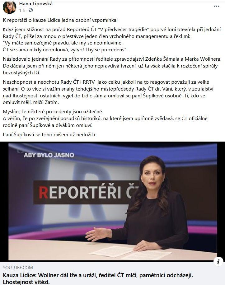Lipovská znovu udeřila na ČT