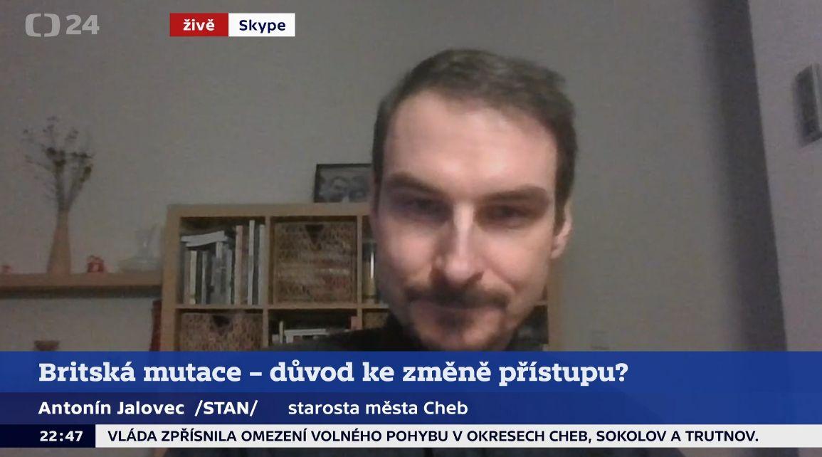 Starosta Chebu Antonín Jalovec (STAN) v ČT