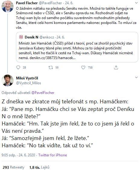 Slovní přestřelka mezi Milošem Vystrčilem a Janem Hamáčkem
